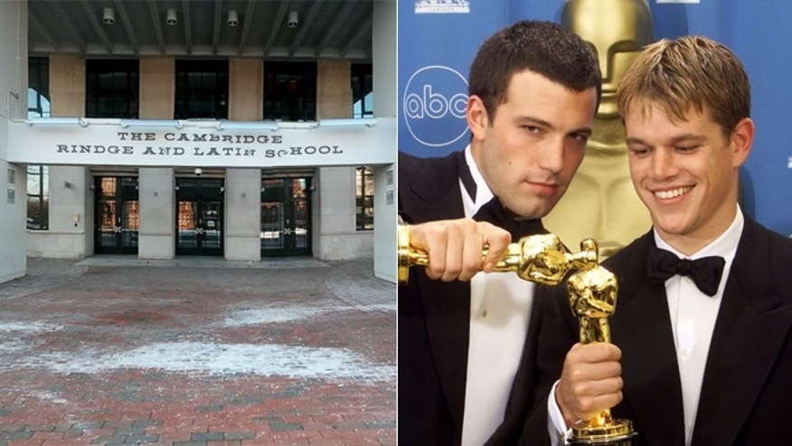 The Cambridge Latin and Rindge School is seen on the left. Actors Ben Affleck and Matt Damon pose together in a 1998 file photo, right.