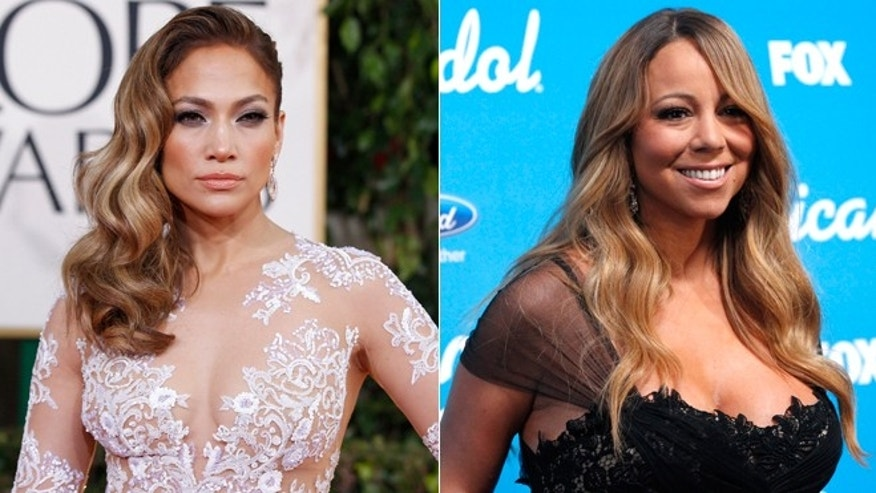 Jennifer Lopez, left, and Mariah Carey are shown.