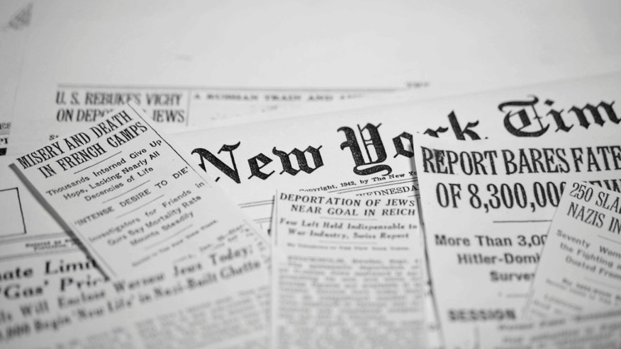"""A scene from """"Reporting on the Times: The NY Times and The Holocaust"""" is shown."""