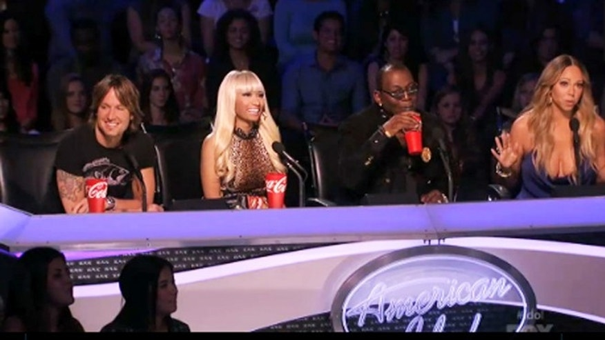 "Keith Urban, Nicki Minaj, Randy Jackson and Mariah Carey are shown on ""American Idol"" on April, 24, 2013."