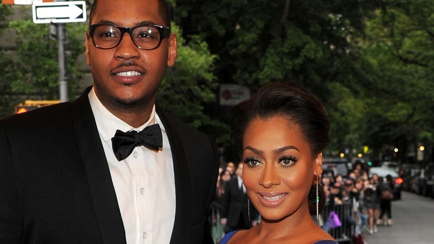 "NEW YORK, NY - MAY 07:  NBA player Carmelo Anthony and La La Anthony attend the ""Schiaparelli And Prada: Impossible Conversations"" Costume Institute Gala at the Metropolitan Museum of Art on May 7, 2012 in New York City.  (Photo by Larry Busacca/Getty Images)"