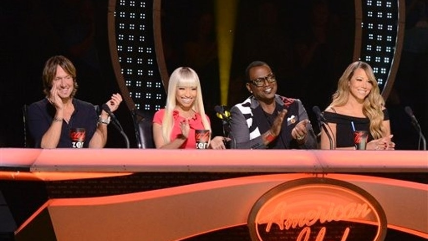 "Keith Urban, Nicki Minaj, Randy Jackson and Mariah Carey appear on ""American Idol."""