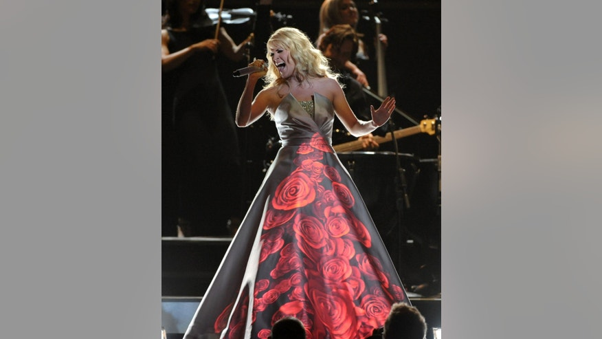 Feb. 10, 2013: Carrie Underwood performs on stage at the 55th annual Grammy Awards in Los Angeles.