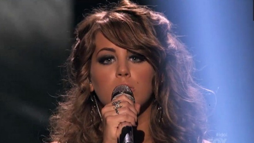 "Angie Miller, 18, performs on ""American Idol."""