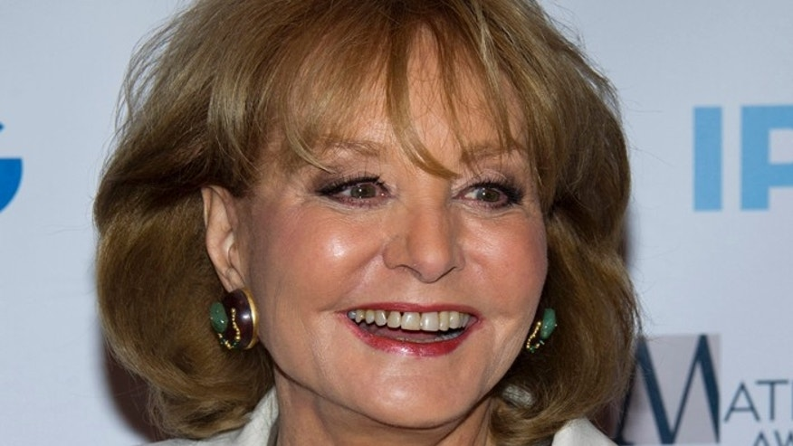 In this Monday, April 23, 2012 photo, veteran ABC newswoman Barbara Walters arrives to the Matrix Awards in New York. Walters has fallen at an inauguration party in Washington and has been hospitalized, according to an ABC News spokesman, Sunday, Jan. 20, 2013. (AP Photo/Charles Sykes)