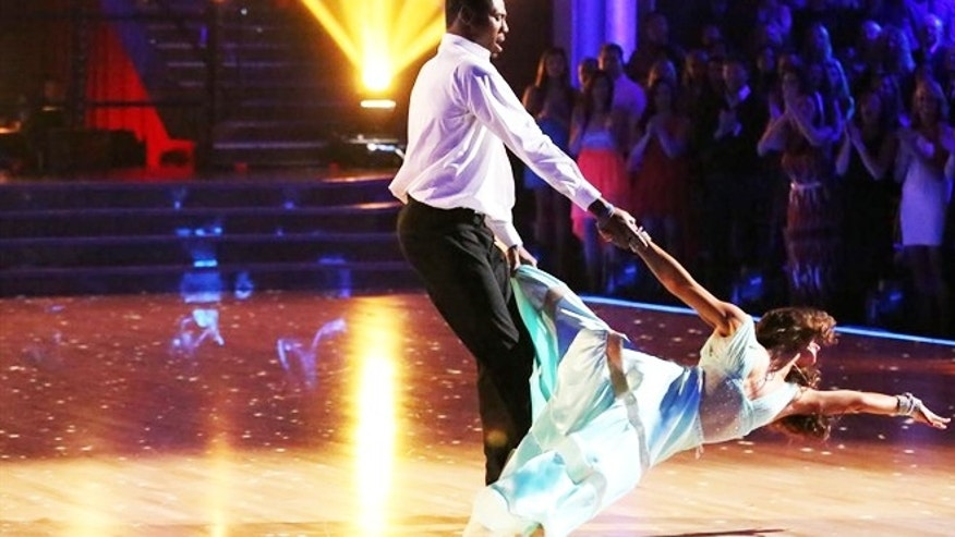 "Karina Smirnoff and Jacoby Jones are seen on ""Dancing with the Stars"""