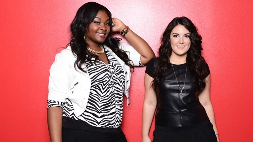"This undated publicity photo released by Fox shows, Candice Glover, left, and Kree Harrison from ""American Idol: The Final 2."""
