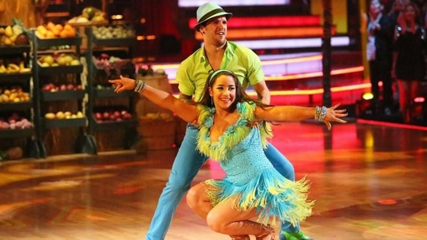"Alexandra Raisman dances with Mark Ballas on ""Dancing With The Stars."""