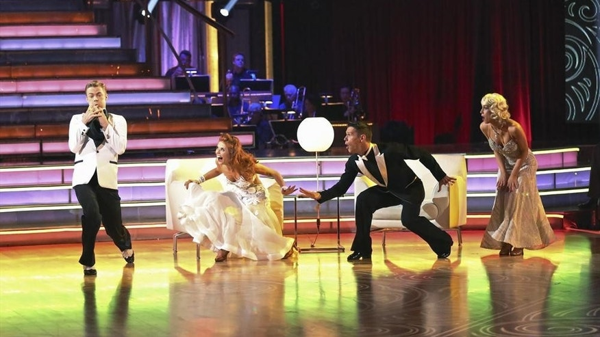"Derek Hough, Anna Trebunskaya, Henry Byalikov and Kelly Pickler are shown on ""Dancing With the Stars"" on April 15, 2013."