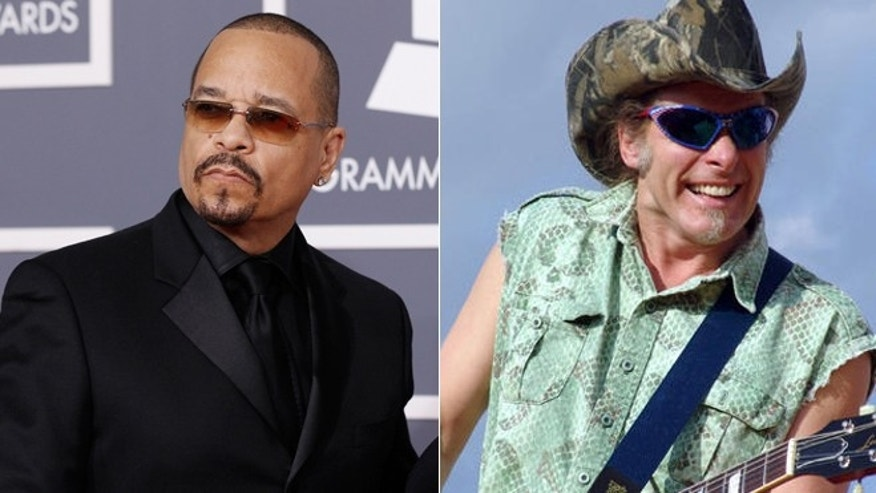 Rapper Ice-T, left, and Ted Nugent are teaming up for a documentary about guns.