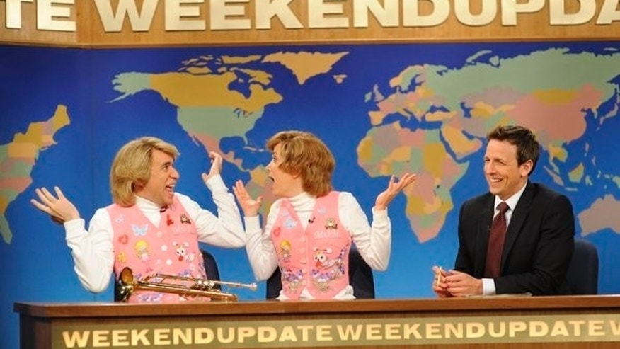 "Fred Armisen, Kirsten Wiig, Seth Meyers on ""Saturday Night Live."""