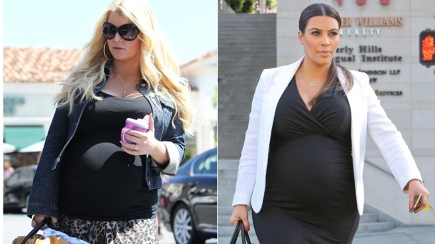 Jessica Simpson, left, and Kim Kardashian, right.