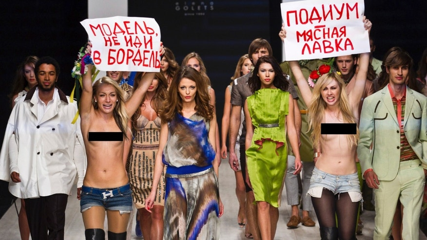 Members of the same group that crashed Klum's show, Femen, also previously protested a fashion show.