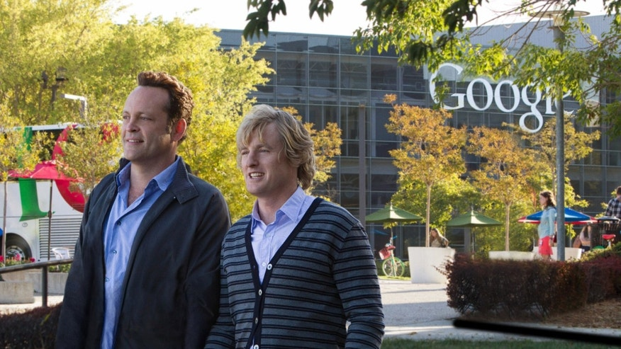 "This film publicity image released by 20th Century Fox shows Owen Wilson, right, and Vince Vaughn in a scene from ""The Internship."""