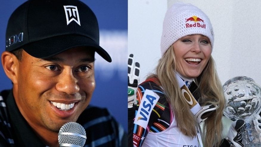 Tiger Woods, left, and Lindsey Vonn, right, are rumored to be dating.