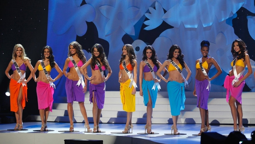 The final ten contestants of the Miss Universe 2011 pageant stand on stage after the swimsuit segment in Sao Paulo September 12, 2011.