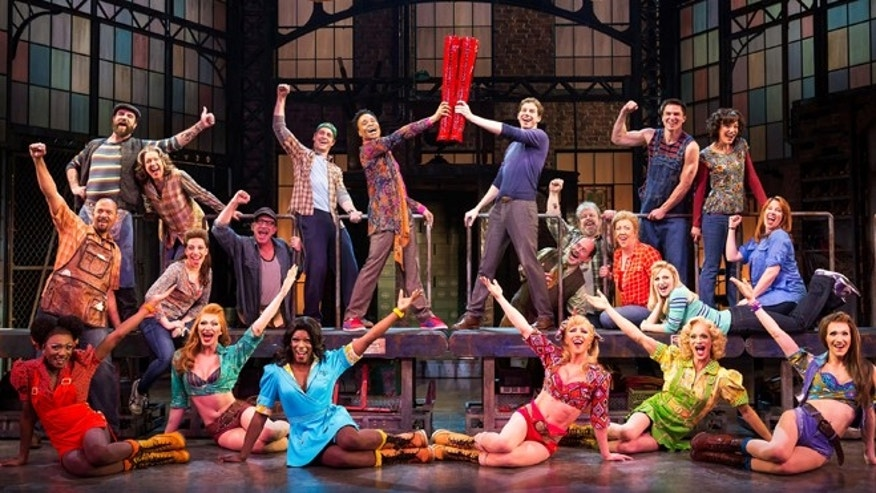 "This theater image released by The O+M Company shows the cast during a performance of the musical ""Kinky Boots."""