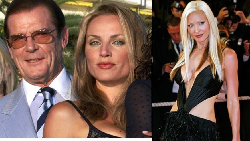 Bourret with Roger Moore in Cannes in 1999, and on the red carpet in 2007.