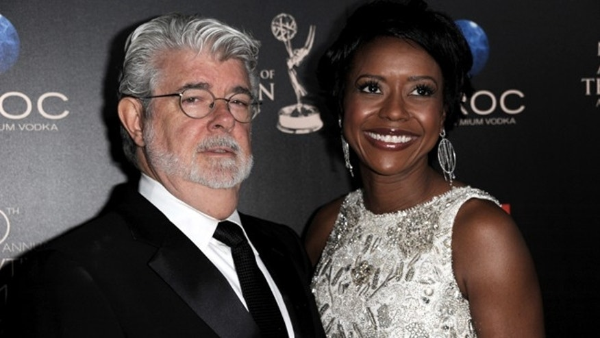 June 16, 2013: In this file photo, George Lucas, left, and longtime girlfriend Mellody Hobson arrive at the 40th Annual Daytime Emmy Awards in Beverly Hills, Calif.