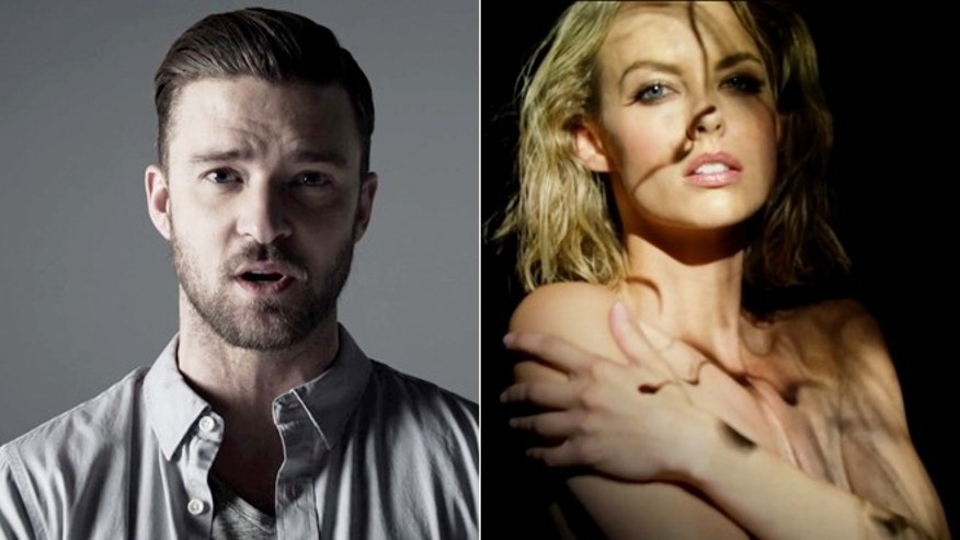 "Scenes from Justin Timberlake's ""Tunnel Vision"" video are shown."