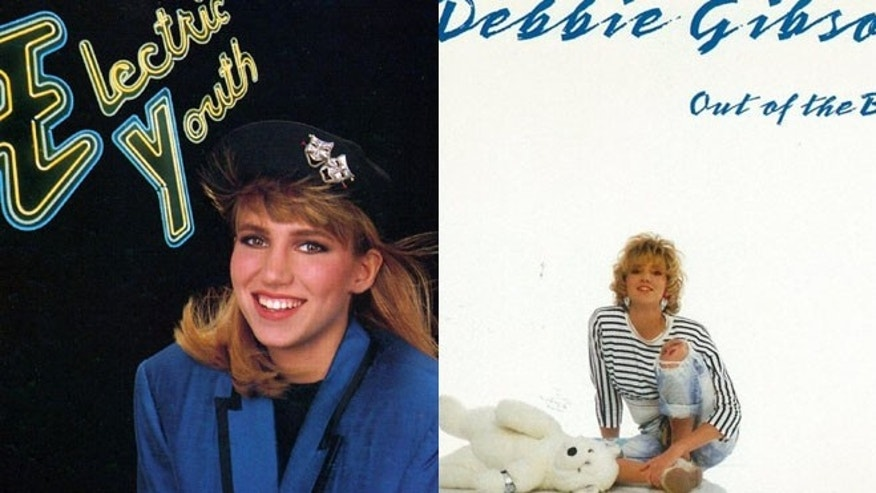 Debbie Gibson posed with a stuffed animal on her first album cover (right)..
