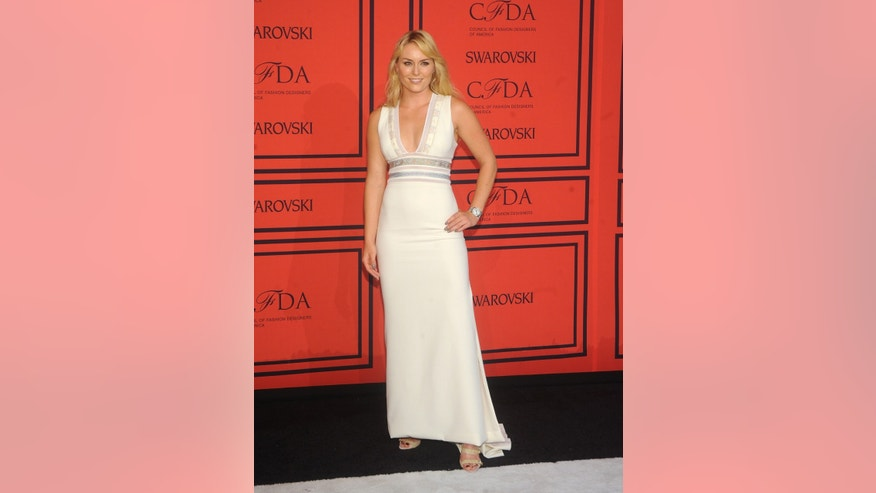 World Cup alpine ski racer Lindsey Vonn arrives at the 2013 CFDA Fashion Awards at Alice Tully Hall on Monday, June 3, 2013 in New York.