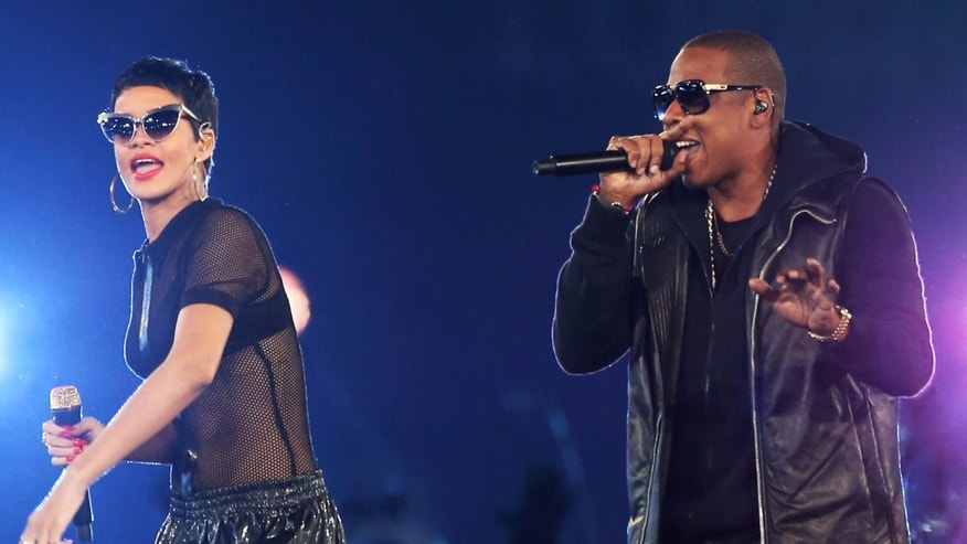 Jay-Z and Rihanna perform during the closing ceremony on day 11 of the London 2012 Paralympic Games at Olympic Stadium on September 9, 2012 in London, England.