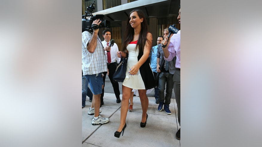"Sydney Leathers, the new ""sexting"" girl of Anthony Weiner, is seen leaving the Howard Stern Show in NYC."