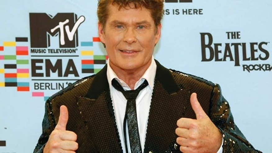 U.S. actor and singer David Hasselhoff poses on the red carpet before the MTV Europe Awards ceremony in Berlin November 5, 2009.   REUTERS/Fabrizio Bensch   (GERMANY ENTERTAINMENT)