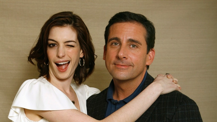 "Cast members Anne Hathaway and Steve Carell from the movie ""Get Smart"" pose for a portrait in Los Angeles May 30, 2008."