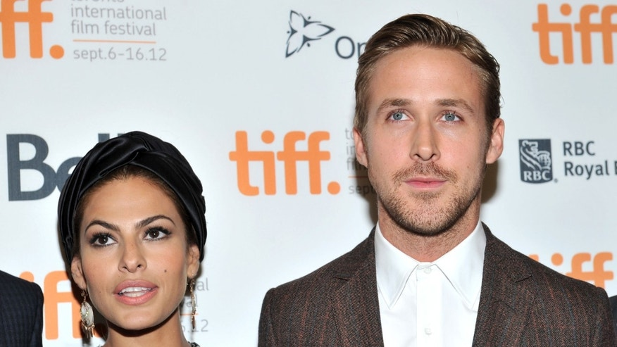Eva Mendes and Ryan Gosling on September 7, 2012 in Toronto, Canada.