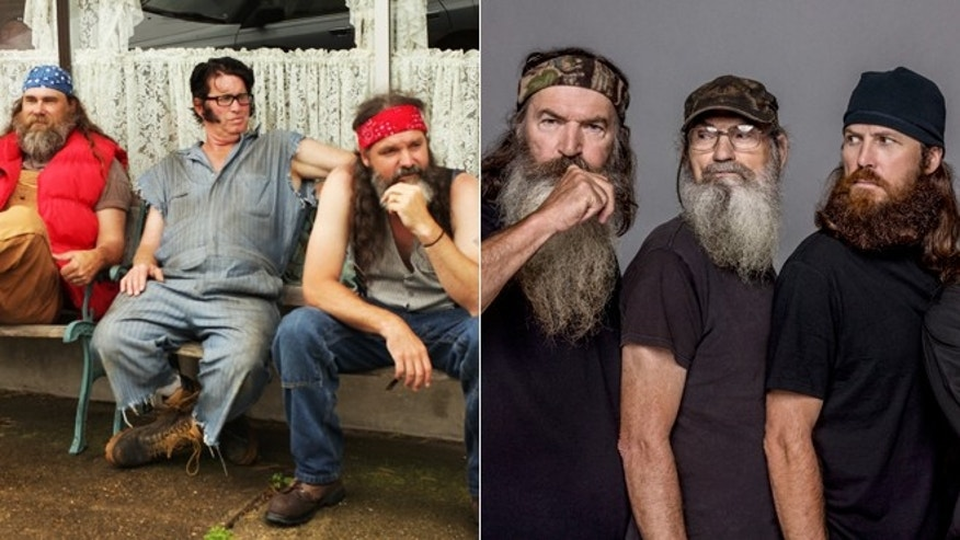 "The cast of the upcoming series ""Porter Ridge,"" left, and the cast of ""Duck Dynasty."""