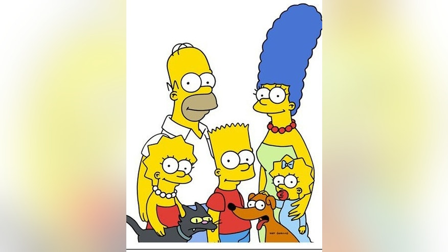 "This animated image released by Fox Television, characters from the animated series, ""The Simpsons,""  clockwise from top left, Homer, Marge, Maggie, pet dog Santa's Little Helper, Bart, Snowball II and Lisa are shown. (AP Photo/Fox) ** NO SALES **"
