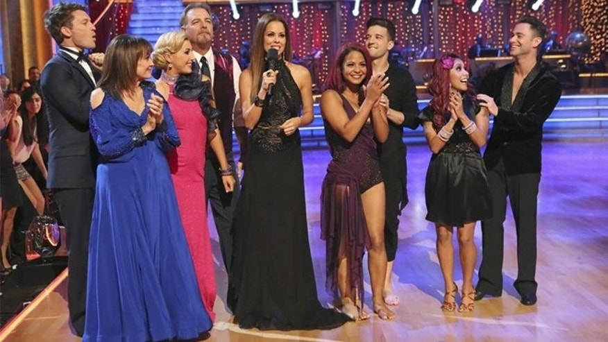 "Tristian MacManus, Valerie Harper, Emma Slater, Bill Engvall, Brooke Burke-Charvet, Christian Milian, Mark Ballas, Nicole ""Snooki"" Polizzi and Sasha Farber, appear on ""Dancing with the Stars"" season 17."