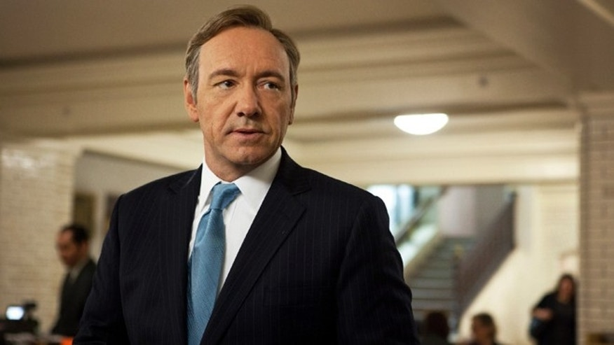 "This image released by Netflix shows Kevin Spacey as U.S. Congressman Frank Underwood in a scene from the Netflix original series, ""House of Cards. """