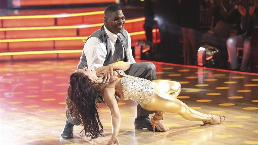 "Sharna Burgess, Keyshawn Johnson perform on ""Dancing with the Stars."""
