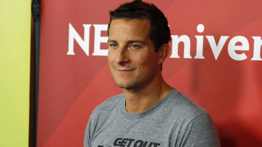 Television personality Bear Grylls arrives at the 2013 NBCUniversal Summer Press Day at The Langham Huntington Hotel and Spa in Pasadena, California, April 22, 2013.