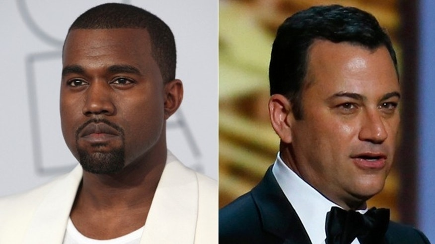 Kanye West, left, had some harsh words for Jimmy Kimmel.