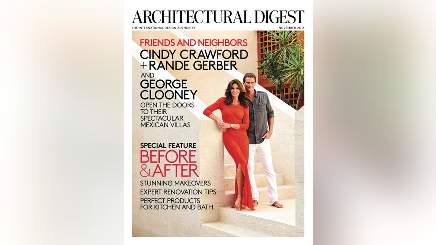 Cindy Crawford and Rande Gerber at their Los Cabos home, which was built in tandem with George Clooney's house next door. Both residences were designed by the architecture firm Legorreta + Legorreta. For details see November Sources.
