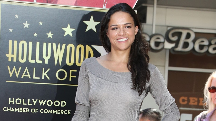 Michelle Rodriguez during the ceremony honoring actor Vin Diesel on The Hollywood Walk of Fame on August 26, 2013 in Hollywood, California.