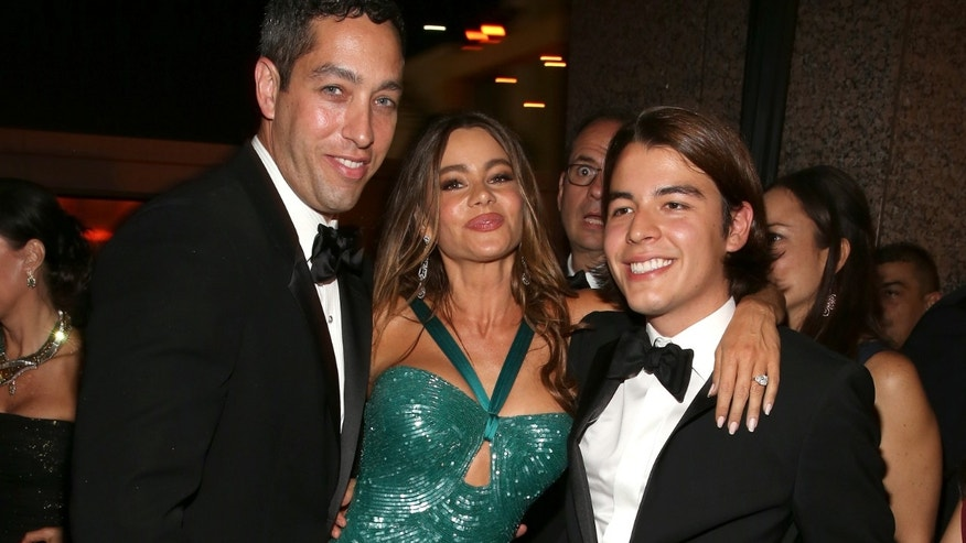 LOS ANGELES, CA - SEPTEMBER 23:  (L-R) Nick Loeb, actress Sofia Vergara (L) and Manolo Gonzalez attend the FOX Broadcasting Company, Twentieth Century FOX Television and FX 2012 Post Emmy party at Soleto on September 23, 2012 in Los Angeles, California.  (Photo by Christopher Polk/Getty Images for FOX)