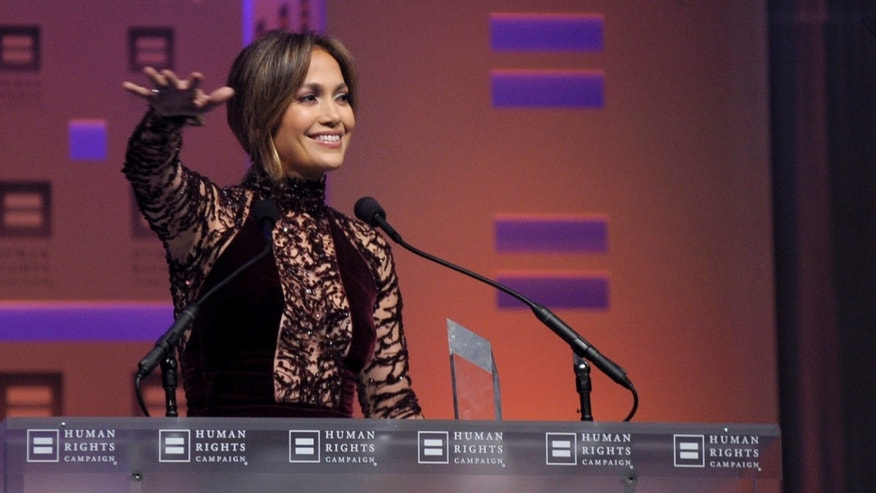 Jennifer Lopez at the HRC National Dinner at Washington Convention Center on October 5, 2013 in Washington, DC.