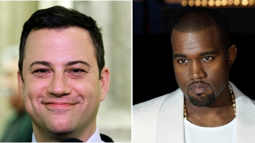 This combo of photos shows Jimmy Kimmel seen in a Jan. 25, 1013 file photo left and Kanye West seen in a May 23, 2012 file photo.