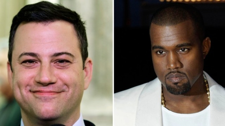 "FILE: This combo of photos shows Jimmy Kimmel and Kanye West. West appeared on ""Jimmy Kimmel Live"" Wednesday night Oct. 9, 2013 to discuss his feud with Kimmel."