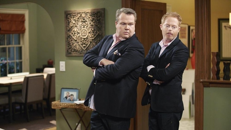 "Eric Stonestreet and Jesse Tyler Ferguson play gay couple Mitch and Cam on ABC's ""Modern Family."""