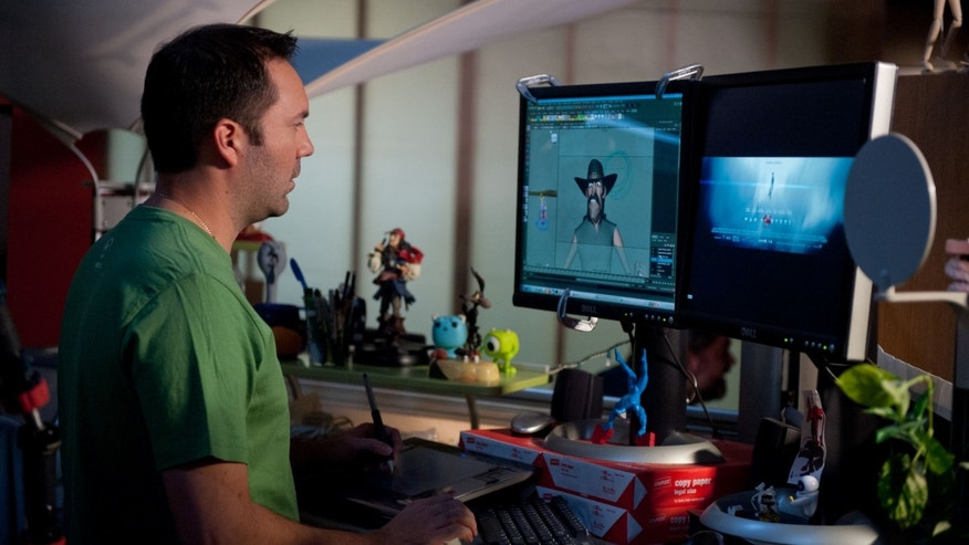 Animator Ernesto Bottger working on a Myles Standish scene. Photo Credit: Van Redin7
