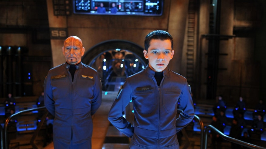 "This image released by Summit Entertainment shows Ben Kingsley, left, and Asa Butterfield in a scene from ""Ender's Game."""