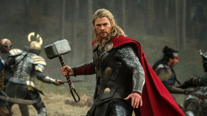 "This publicity photo released by Walt Disney Studios and Marvel shows Chris Hemsworth in a scene from ""Thor: The Dark World."""