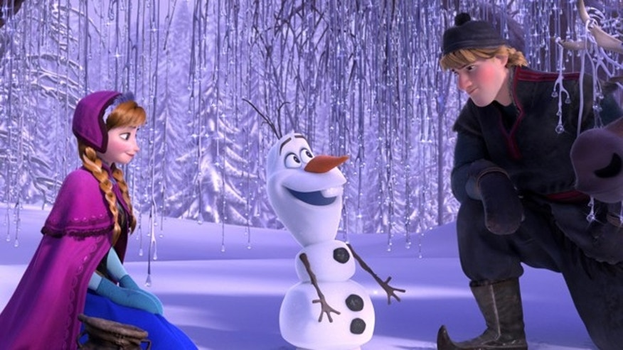 "This image released by Disney shows , from left, Anna, voiced by Kristen Bell, Olaf, voiced by Josh Gad, and Kristoff, voiced by Jonathan Groff in a scene from the animated feature ""Frozen."""