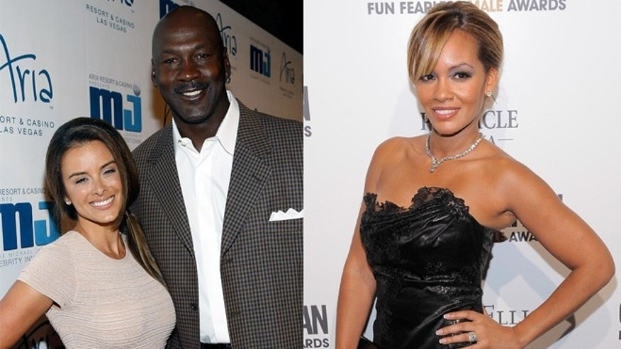Michael Jordan's wife Yvette Prieto (L) and 'Basketball Wives' star Evelyn Lozada